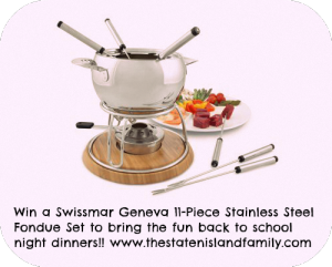 Back to school will be anything but boring with these gadgets and we are giving away a Swissmar Geneva 11-Piece Stainless Steel Fondue Set to bring the fun back to school night dinners!!