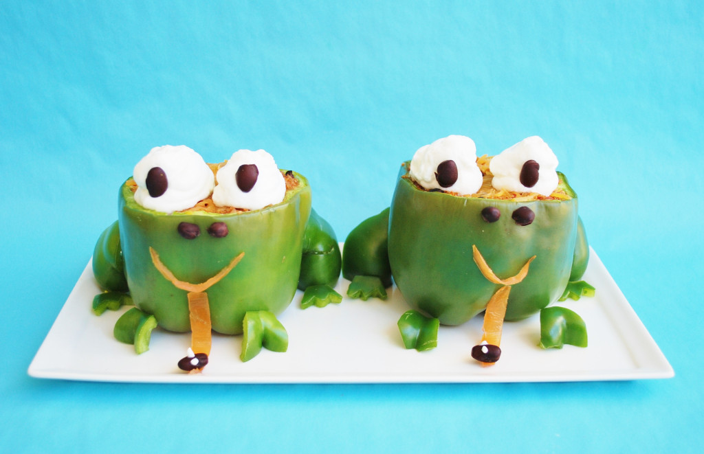These Mexican stuffed peppers contain healthy ingredients that the kids will love. I never thought my boys would try a stuffed pepper, but how could any kid resist eating these adorable frogs?! Now this is one of their most requested dinners.
